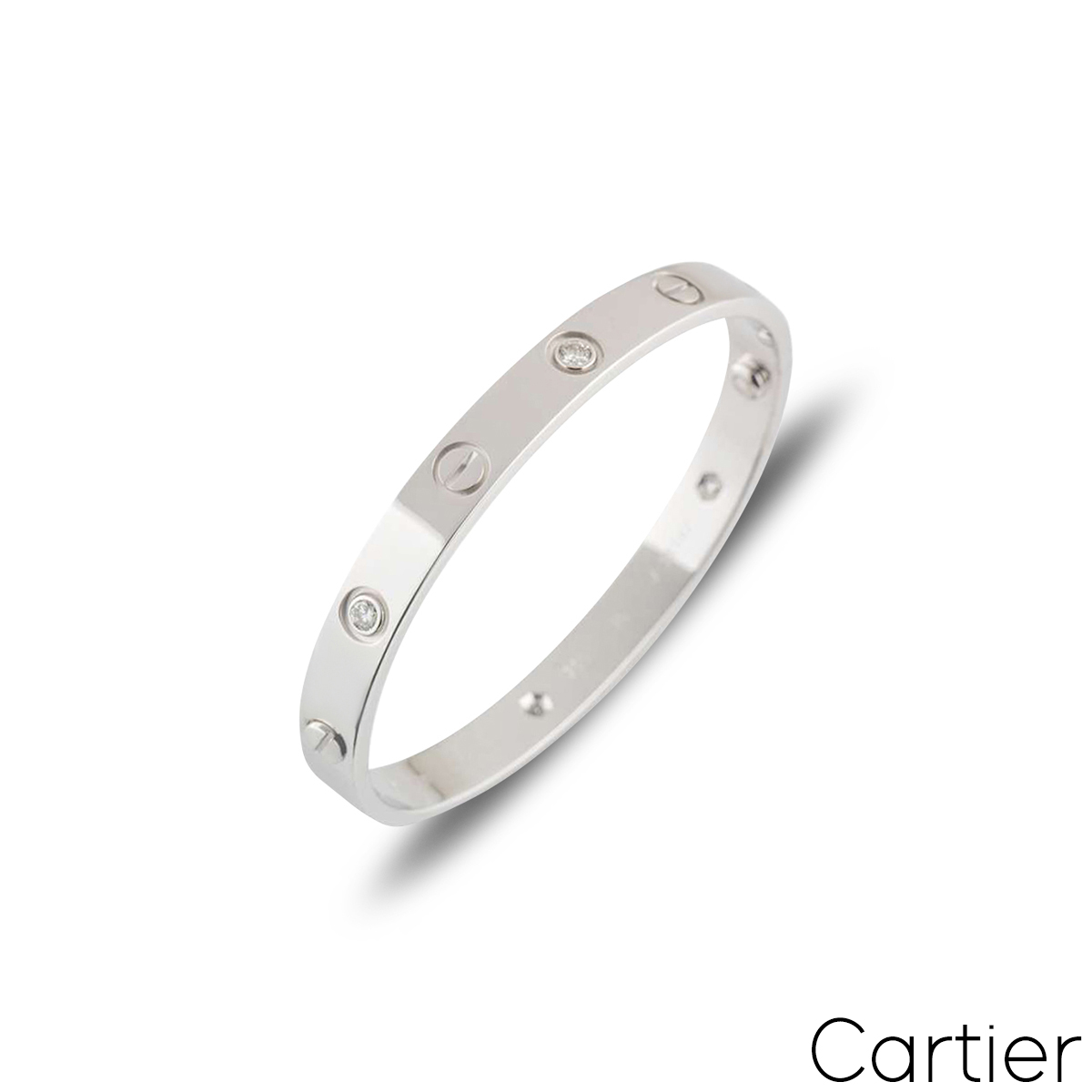 Cartier White Gold Half Diamond Love Bracelet Size 16 B6014016